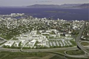 """Nýi Landspítalinn, teikning. Hér vantar m.a. bílastæðahús og """"randbyggð""""."""